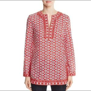 Tory Burch Jayne Tunic Top Sequined Embroidered 14